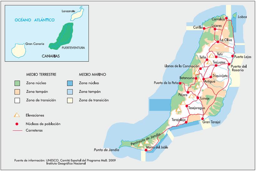 Mapa De Fuerteventura Municipios.Red Espanola De Reservas De La Biosfera Ficha De La Reserva