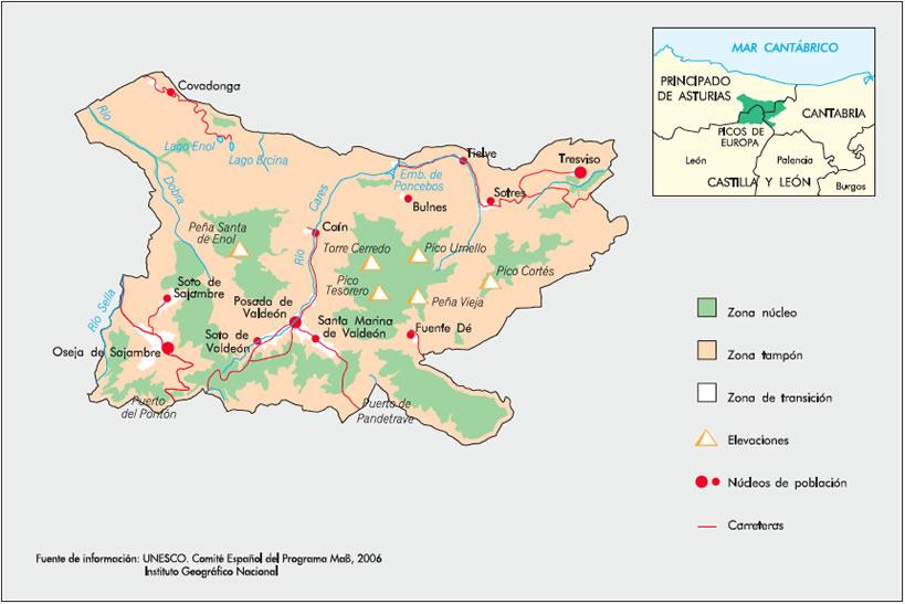 Mapa Picos De España.Red Espanola De Reservas De La Biosfera Ficha De La Reserva