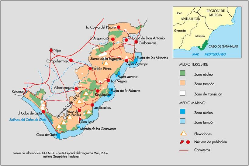 Cabo De Gata Mapa.Red Espanola De Reservas De La Biosfera Ficha De La Reserva