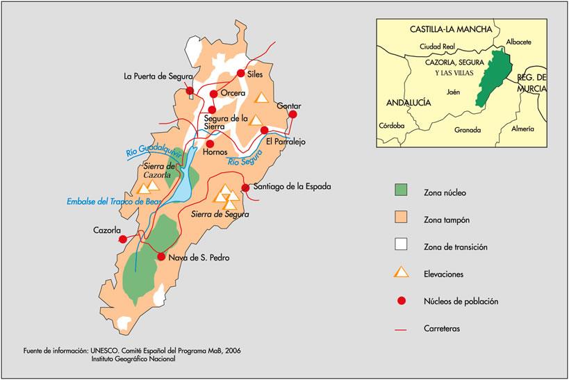 Sierra De Cazorla Y Segura Mapa.Red Espanola De Reservas De La Biosfera Ficha De La Reserva